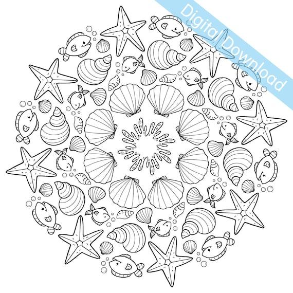 Digital Download Printable Colouring Page Starfish