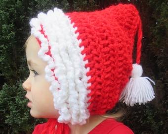Winter Pixie Handmade Crocheted Toddler Hat/Child Hat/ Valentine's Day Hat/ Valentine's Gift