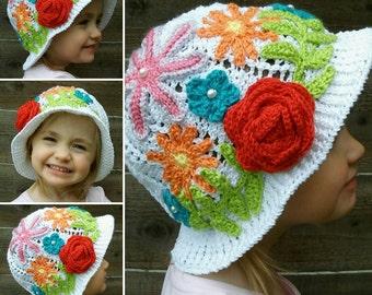 Summer Fiesta Flowers Handmade Crocheted Baby Hat/ Toddler Hat/ Child Sun Hat/ Panama Hat/Birthday Gift/Shower Gift/ Kids Cliche Hat