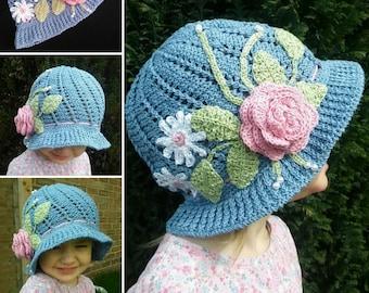 English Rose Garden Handmade Crocheted Baby Hat/Toddler Hat/Child 1920's Style Sun Hat/Birthday Gift/ Cloche Hat/ Summer Sun Hat