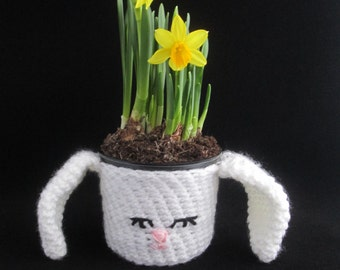 Easter Bunny Handmade Crocheted Potted Plant Cover/Easter Decor/Homeware/Housewarming Gift/ Easter Gift/ Teacher's Gift/ Plant Pot Cover