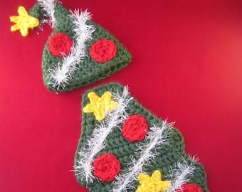 Christmas Tree Handmade Crocheted Baby Cape Set/ Newborn Photography Prop/ Christmas Tree Hat/ Baby's First Christmas/ Photography Prop