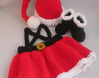 Santa Baby Girl's Handmade Crocheted 3 Piece Outfit/ Baby's First Christmas Set/Newborn Photography Prop/ Christmas Outfit/ Mrs. Claus Set