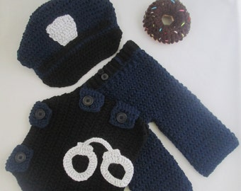Baby Policeman with Trousers Handmade Crocheted 5 Piece Set/ Baby Policeman Outfit/Baby Policeman Costume/ Baby Photography Prop/ Police Hat