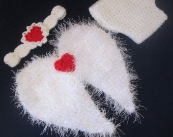 Valentine's Baby Handmade Crocheted Cupid Outfit/Angel 3 Piece Baby Set/Angel Baby Costume/ Cupid Baby Costume/ Newborn Photography Prop