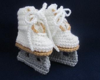 Baby Handmade Crocheted Ice Skate Booties/ Figure Skate Booties/Christmas Gift/Baby Shower Gift/Stocking Stuffer/ Crochet Winter Booties