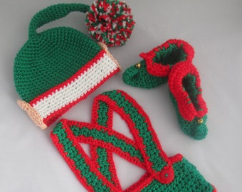 Santa's Little Helper Baby Boy Handmade Crocheted Elf Outfit/ Baby Christmas Outfit/ Baby Photo Prop/ Baby's First Christmas/ Elf Costume