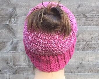 Women's Handmade Crocheted Messy Bun Beanie Hat/ Winter Hair Accessory