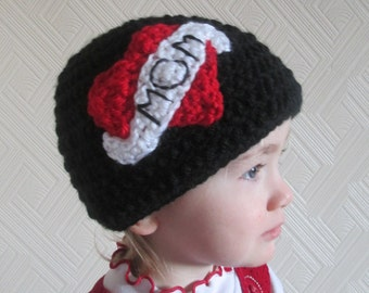 Handmade Crocheted Baby Heart Tattoo Hat/Baby Valentine's Heart Tattoo Beanie Hat/Baby Photography Prop/ Baby's First Valentine's Day