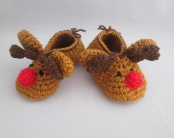 Reindeer Handmade Crocheted Christmas Baby Booties/Stocking Stuffer/ Baby's First Christmas/Christmas Baby Booties/Crocheted Booties