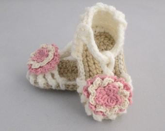 Antique Rose Handmade Crocheted Summer Baby Sandals/ Baby Sandals/ Baby Summer Shoes/ Baby's First Shoes/ Crocheted Baby Sandals