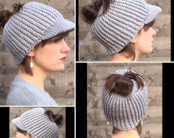 Women's Handmade Crocheted Messy Bun Cap Style Hat/Winter Hair Accessory