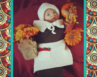 Baby Girl's Thanksgiving Pilgrim Handmade Crocheted Cocoon Set/ Baby Pilgrim Outfit/Newborn Photography Prop/ Baby's First Thanksgiving