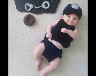 Baby Policeman Handmade Crocheted 5 Piece Set/ Baby Policeman Outfit/Baby Policeman Costume/Baby Photography Prop/ Baby Shower Gift