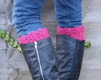 Lacey Elegant Crocheted Women's Raspberry Pink Boot Cuffs/Boot Toppers/Faux Leg Warmers/ Women's Valentine's Gift/ Boot Cuffs