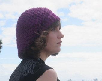 Purple Parisian Handmade Crocheted Adult Women's Slouchy Hat/ Winter Hat/ Christmas Gift/Women's Crocheted Hat/Slouch Hat/ Purple Hat