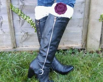 Women's Winter Rose Cream Crocheted Boot Cuffs/Handmade Boot Toppers/Faux Leg Warmers/ Women's Valentine's Gift/ Boot Cuffs/ Winter Fashion