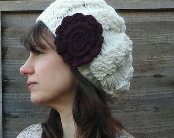 Women's Winter Rose Cream Crocheted Cable Hat/ Chunky Cable Hat/ Cream Beret/ Women's Hat/ Women's Gift Idea/Cream Coloured Hat