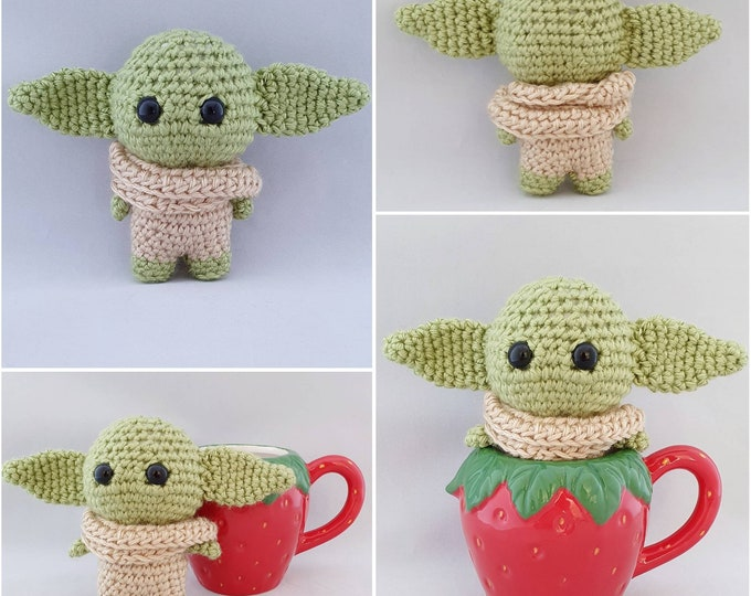 Featured listing image: Handmade Crocheted Pocket Sized Baby Green Alien Amigurumi /Baby Alien Doll/Star Gnome Doll