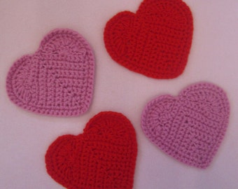 Handmade Crocheted Valentine Heart Coaster Set/ Valentine's Themed Decor/ Kitchen Decor/ Bar Decor/Valentine's Decorations/Reusable Coasters