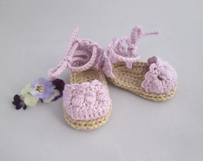 Featured listing image: Lavender Lace Handmade Crocheted Baby Espadrille Sandals