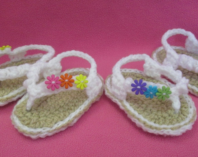 Featured listing image: Handmade Crocheted Baby Girl's Groovy Flower Flip Flops/ Easter Gift/ Baby Shower Gift/ Baby Flip Flops/ Baby Sandals/ Flip Flops