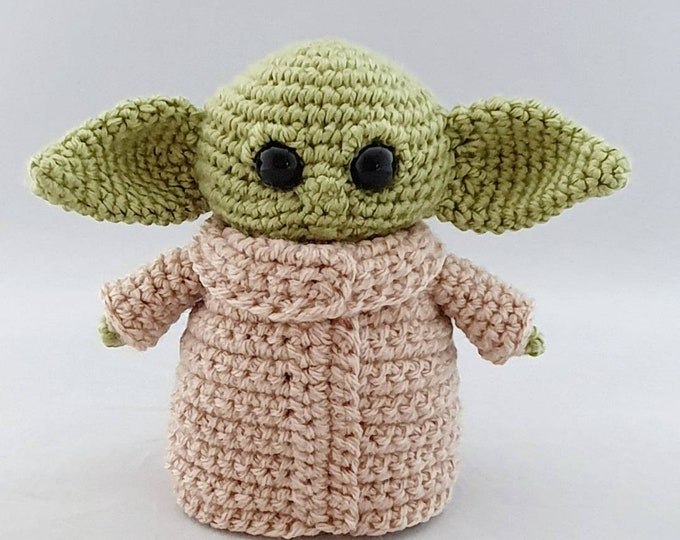 Featured listing image: Handmade Crocheted Baby Green Alien Amigurumi with Space Bed/Baby Alien Doll/Star Gnome Doll