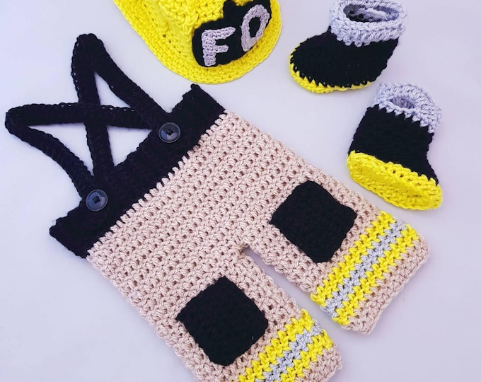 Featured listing image: Newborn and Baby Boy Handmade Crocheted 3 Piece Firefighter Outfit/New Baby Boy Set/ Newborn Photography Prop/Baby Shower Gift