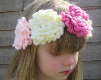 Seventies Summer Flower Festival Handmade Crocheted Wreath Headband for Babies/Toddler Flower Headband/Kids Flower Headband/Girl's Wreath