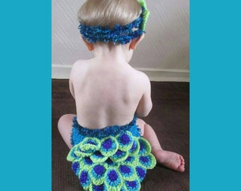 Pretty As A Peacock Handmade Crocheted Baby Outfit/ Baby Peacock Costume/ Baby Photography Prop/ Halloween Baby Costume/ Crocheted Peacock