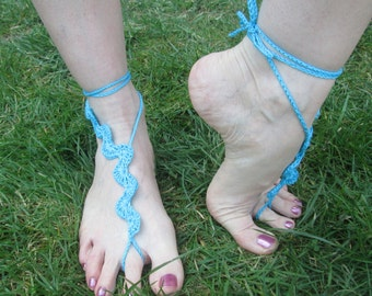 Blue Wave Handmade Crocheted Adult Summer Barefoot Sandals/ Women's Barefoot Sandals/Beach Sandals/ Festival Fashion/ Holiday Shoes