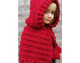 Red Hooded Handmade Crocheted Pom Pom Drawstring Cape/ Red Hooded Cloak/ Christmas Hooded Cape/ Valentine's Day Gift/Little Red Riding Hood