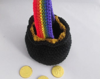 Lucky Pot of Gold Rainbow Handmade Crocheted St.Patrick's Day Purse/Pot of Gold Pouch/Pot of Gold Favor Bag/ St. Patrick's Day Party Favors