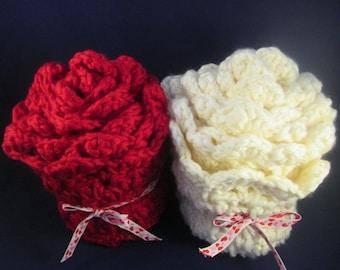 Women's Valentine's Rose Handmade Crocheted Infinity Scarf/ Gift