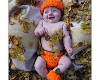 Pumpkin Baby Handmade Crocheted Halloween Set/Baby Pumpkin 3 Piece Outfit/ Newborn  Photography Prop/ Pumkin Baby Halloween Costume
