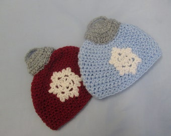 Snowflake Christmas Ornament Handmade Crocheted Baby Hat/Toddler Hat/ Newborn Photography Prop/ Baby's First Christmas Hat/ Xmas Novelty Hat