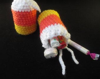 Halloween Candy Corn Handmade Crocheted Party Bags/ Halloween Treat Bags/Halloween Party Favors/ Halloween Decor/ Party Favor Bags