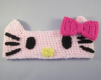 Little Pink Kitty Handmade Crocheted Ear Warmers for Baby/Toddler Ear Warmers/Child Ear Warmers/Christmas Gift/Stocking Stuffer/Cat Headband