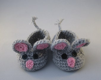 Little Grey Fieldmouse Handmade Crocheted Baby Booties/ Baby Shower Gift/Christmas Gift/ Baby Mouse Shoes/ Crocheted Booties