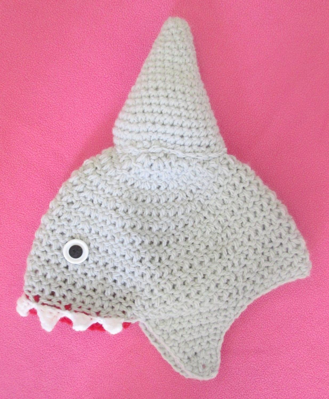 1d50fdd7499 Handmade Crocheted Baby Shark Hat  Baby Halloween Accessory ...