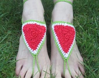 Wonderfully Watermelon Summer Handmade Crocheted Adult Barefoot Sandals