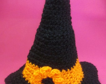 Baby Witch Handmade Crocheted Halloween Hat/Newborn Photography Prop/ Halloween Baby Accessory/ Baby Wich Hat/ Crocheted Witch Hat