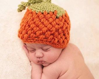 Newborn Baby Handmade Crocheted Pumpkin Beanie Hat/ Autumn Hat/Newborn Photography Prop/Christmas Gift/ Pumpkin Baby Hat/ Halloween Hat