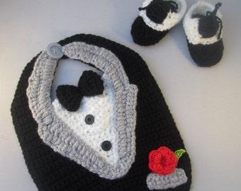 Tuxedo Baby Handmade Crocheted Bib and Booties Set/ Halloween Set/ New Years Eve Set/ Newborn Photography Prop/Christmas Gift