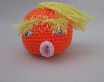 Donald Trump Handmade Crocheted Stress Ball/ Post Inauguration Stress Reliever/Office Decoration/ Desk Toy/Novelty Gift/Stocking Stuffer
