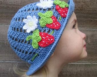 Summer Strawberry Handmade Crocheted Toddler Sun Hat/ Toddler Panama Hat/ Birthday Gift