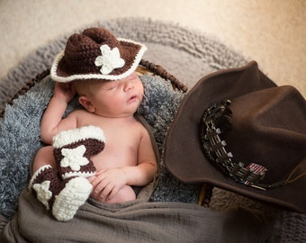 Baby Cowboy Handmade Crocheted Hat and Boots Set/ Newborn Photography Prop/ Halloween Accessories/ Christmas Gift/ Baby Cowboy Hat