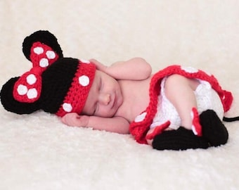 Baby Mouse Handmade Crocheted 3 Piece Set/Baby Mouse Costume/ Newborn Photography Prop/ Baby Shower Gift/ Baby Girl Mouse Hat