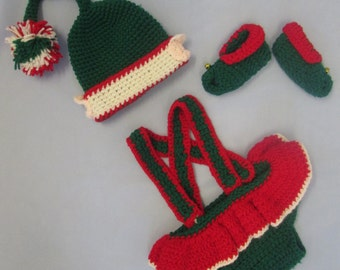 Santa's Little Helper Baby Girl Handmade Crocheted Elf Outfit/Baby's First Christmas Outfit/ Baby Photo Prop/ Elf Girl Costume