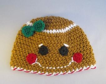 Baby Gingerbread Girl Handmade Crocheted Christmas Hat/ Newborn Photography Prop/ Christmas Photo Prop
